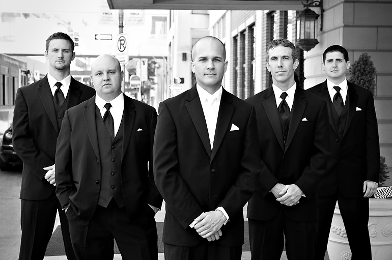The groomsmen ready for business