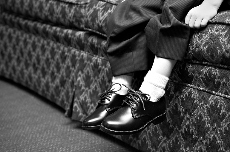 The ring-bearer's cute little shoes
