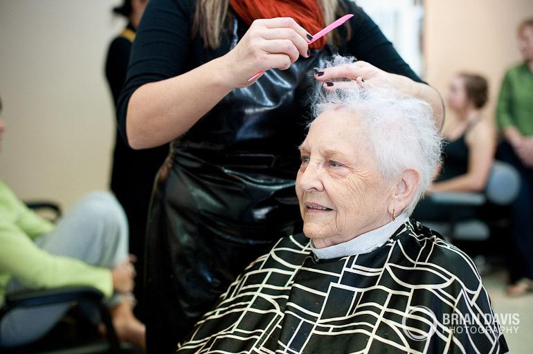 Grandma getting her hair done