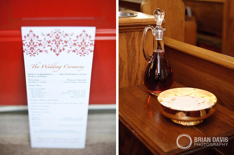 Wedding program with communion wine