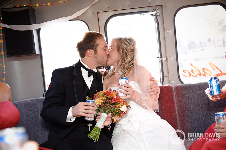 Kissing in the party bus