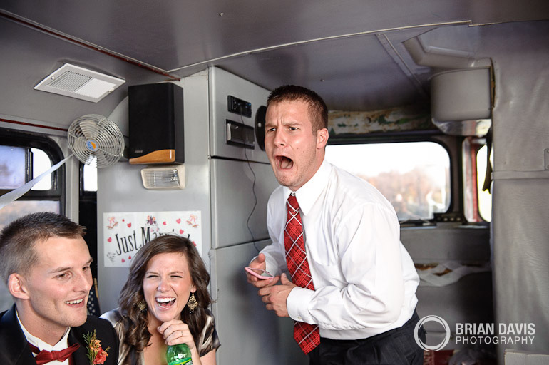 Shouting on the party bus!