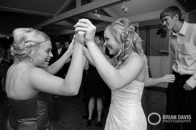 Erica dancing with a bridesmaid
