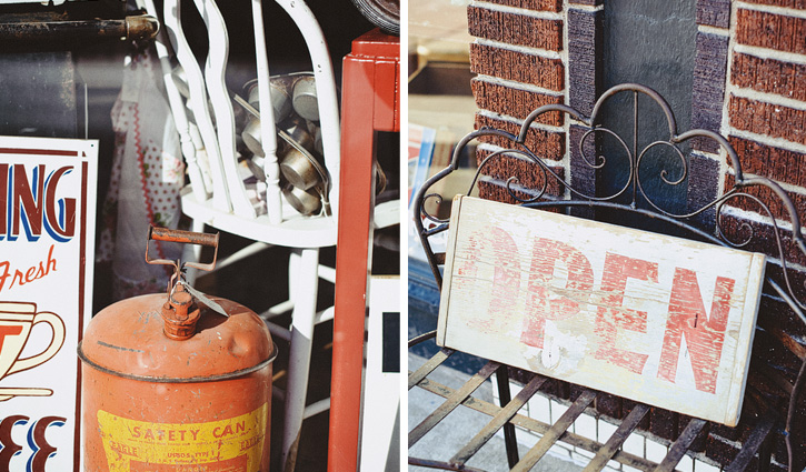 A vintage gas can and a wooden open sign from an antique store in the East Village, Des Moines