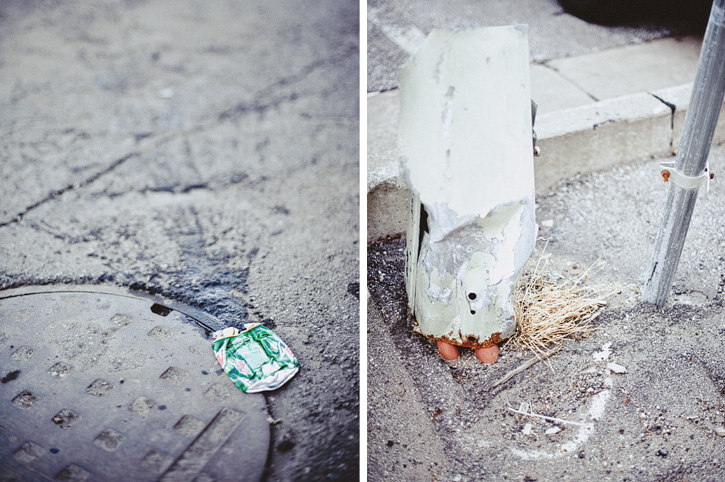 Mountain Dew can on the ground that had exploded and run over by a car.