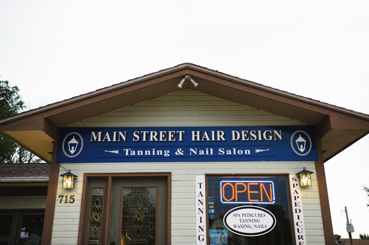 The Main Street Hair Design shop in Panora, Iowa