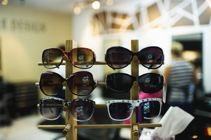 Display of sunglasses at Main Street Hair Design in Panora, Iowa