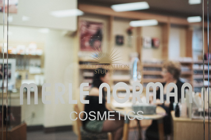 Merle Norman sign at the makeup counter in Coon Rapids, Iowa.