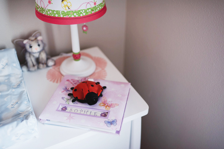 Photo of a dresser with a book for Sophie on it.