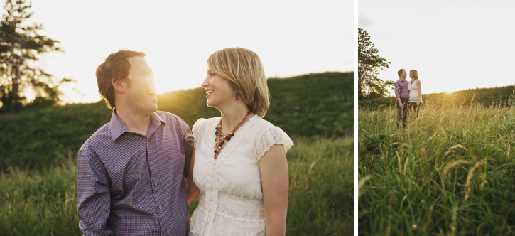 Jill and Bryan interacting in a field during their Des Moines, Iowa Engagement Session
