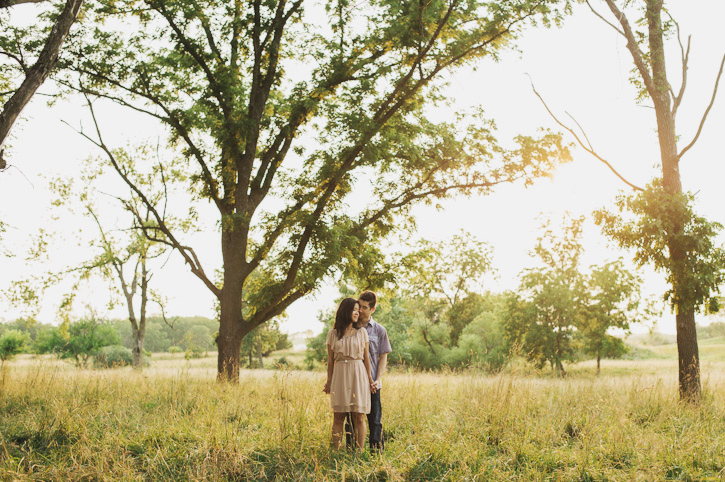 Shandon and Diane embracing in a sunset field during a western Iowa engagement session