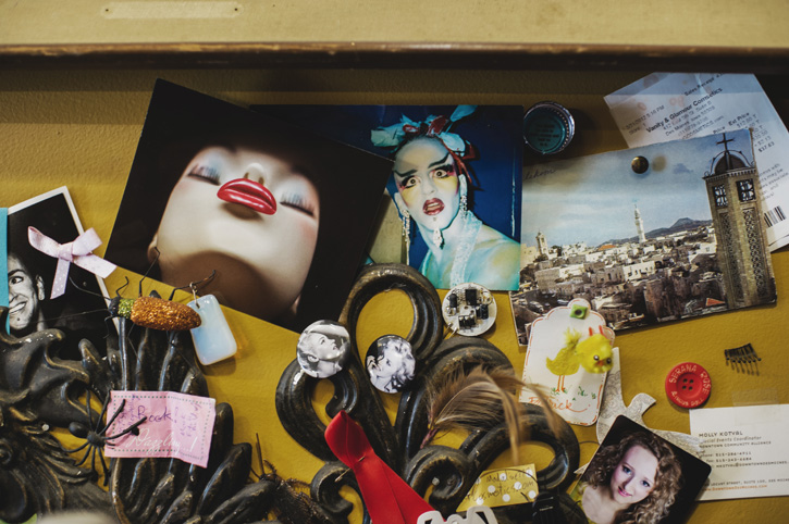 A collection of goofy wall decor at Vanity and Glamour in the East Village of Des Moines, Iowa