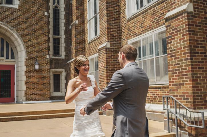 Laura and Ryan having an exciting first meeting outside her church in Des Moines, Iowa
