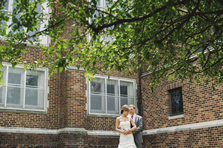 Laura and Ryan posing for a quick shot in front of their church in Des Moines, Iowa