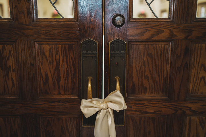 A bow tied to the door of the church in Des Moines, Iowa