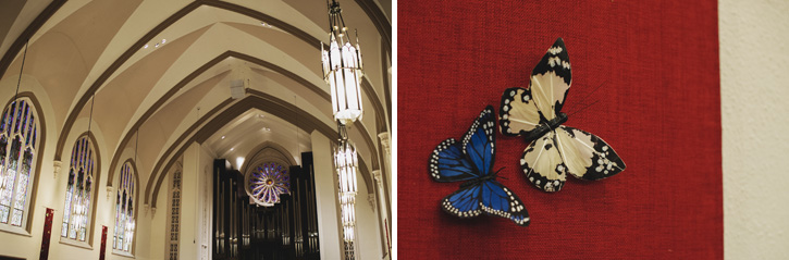 The detail of the church and two butterflies on the wall