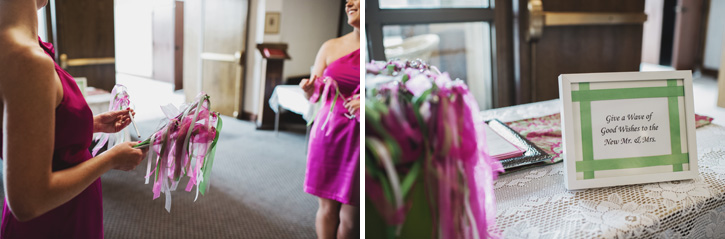 Bridesmaids handing out streamers after the ceremony in Des Moines, Iowa
