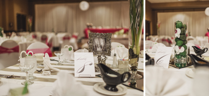 Close up of Laura's centerpieces at the reception at Embassy Suites in Des Moines, Iowa