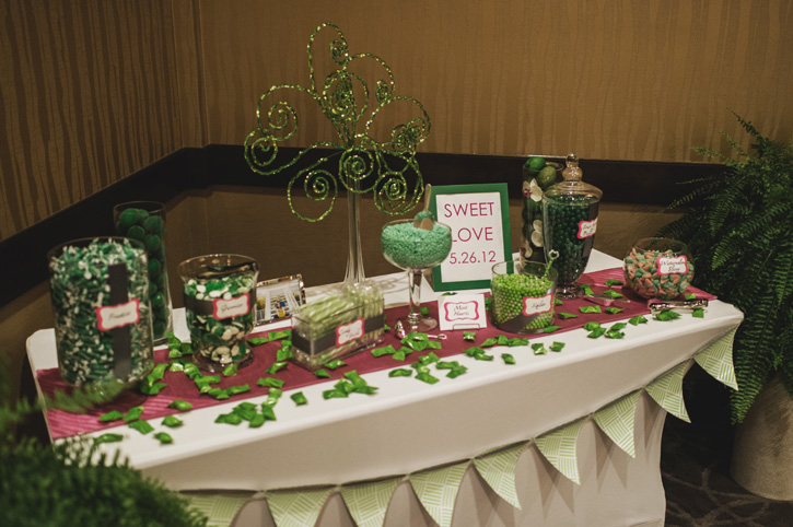 The candy table at the reception at Embassy Suites in Des Moines
