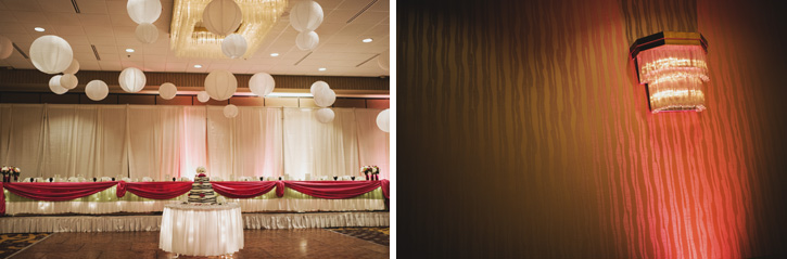 Laura's customized lighting for her reception at Embassy Suites in Des Moines, Iowa