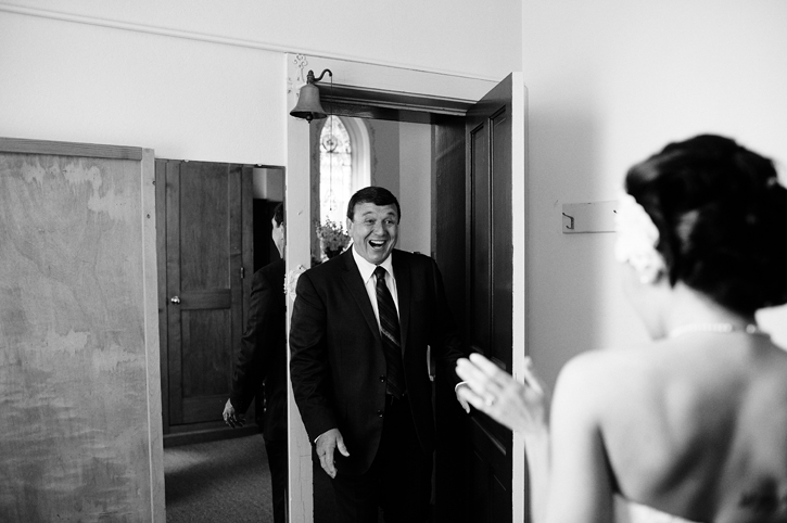 Father sees his beautiful daughter in her dress | Iowa Wedding Photographer Brian Davis
