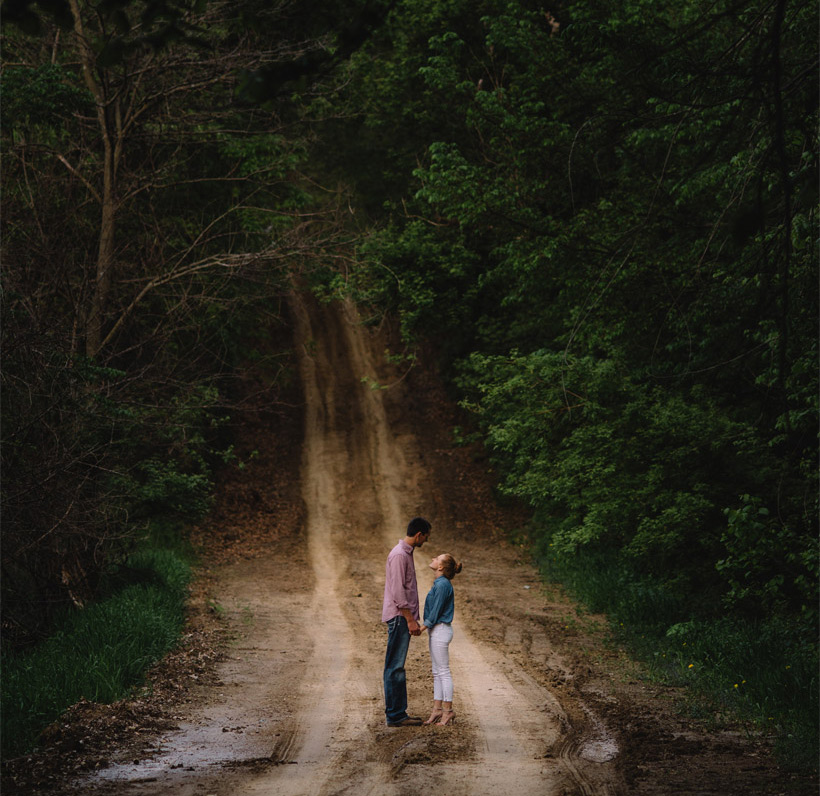 A moody teaser photo from Erin and Scott's Engagement Session