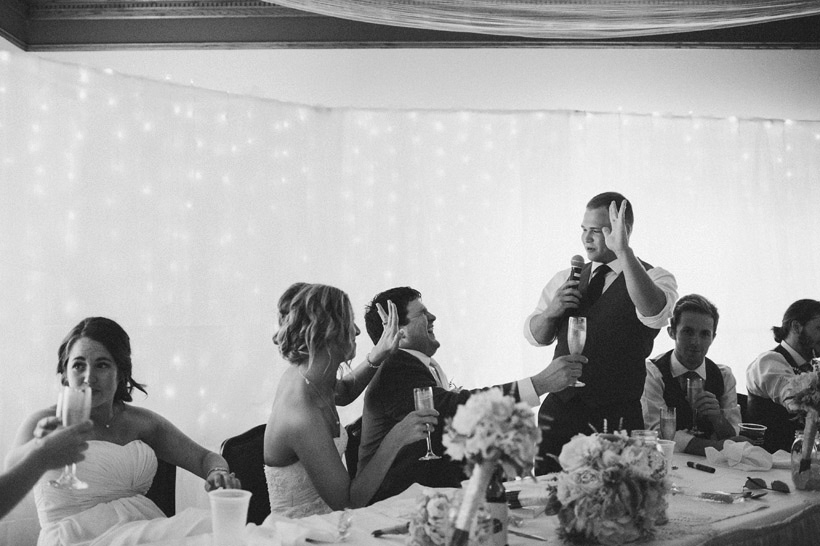 The best man delivers a funny star trek anecdote at the end of the wedding speeches