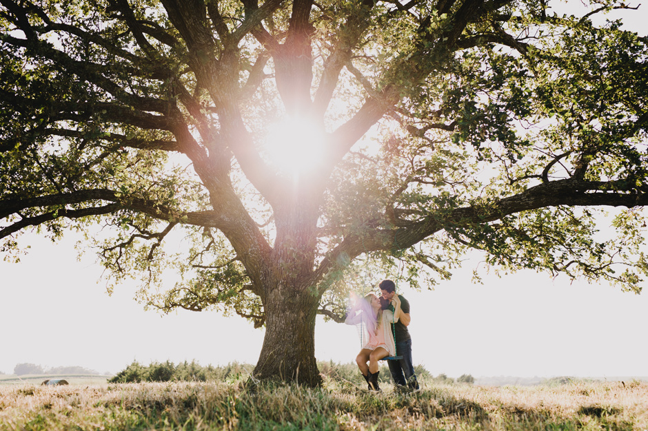 Allison and Dakota swing under her favorite childhood tree during their Panora, IA Engagement
