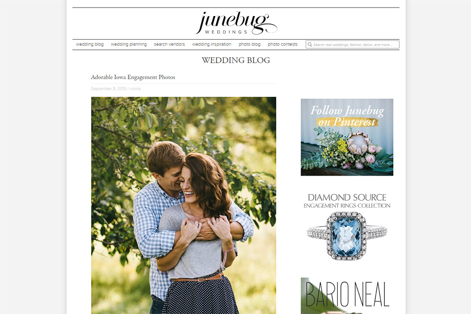 Blake and Justin are featured on Junebug Weddings