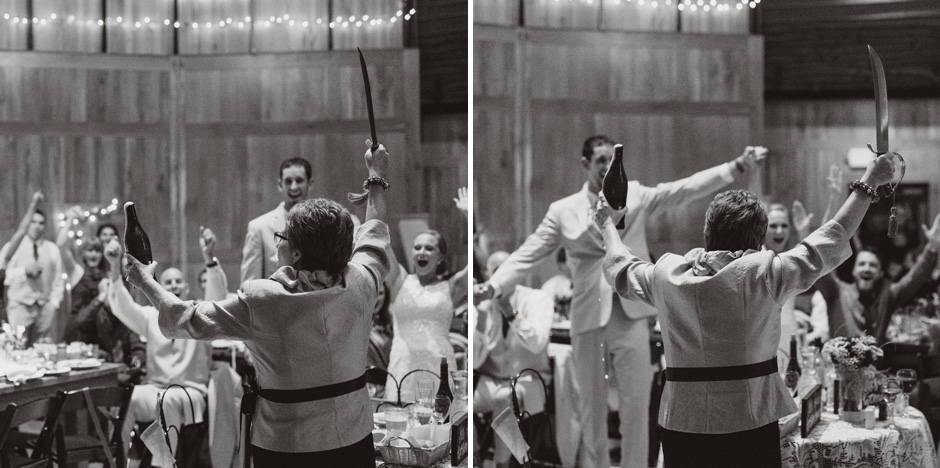 Erin's mom breaks open the champagne with a sabre during their wedding toast