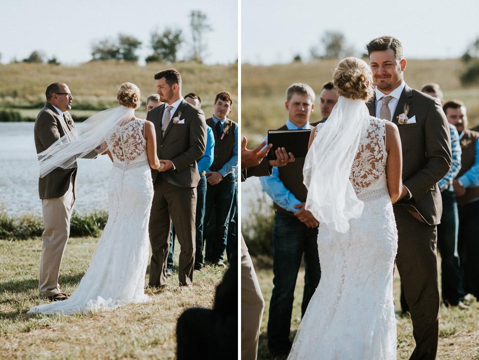 Some beautiful emotion during an Adel, IA farm wedding