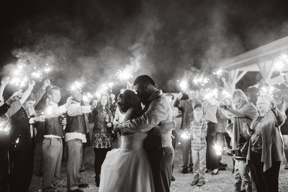 Michele and Cole share a kiss at the end of the night surrounded by sparklers