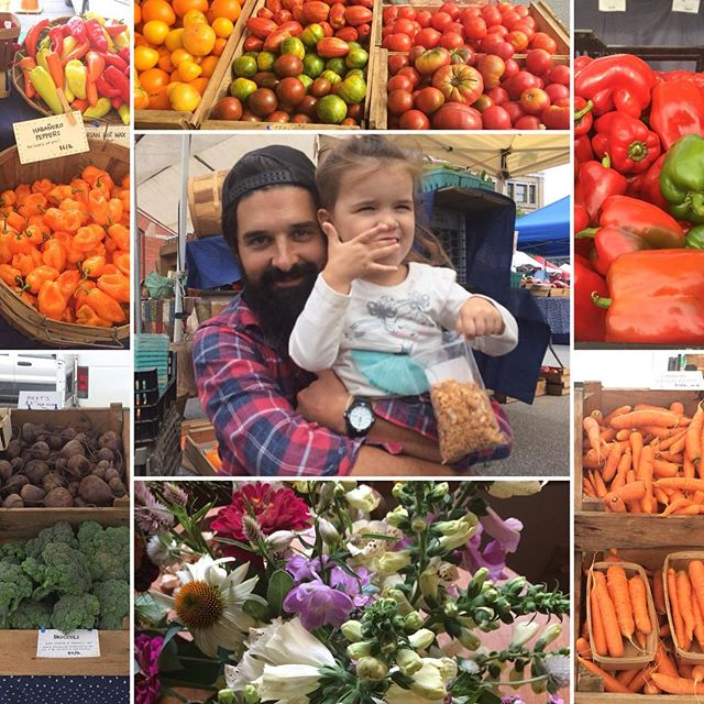 Market warms my heart. Not only were there beautiful rainbows of vegetables, there were these two loves of my life sharing sweet moments behind the stand. And trading beautiful flowers with @understoryfarm never gets old  #friendsdontletfriendscompostflowers @vermontfarmersmarket