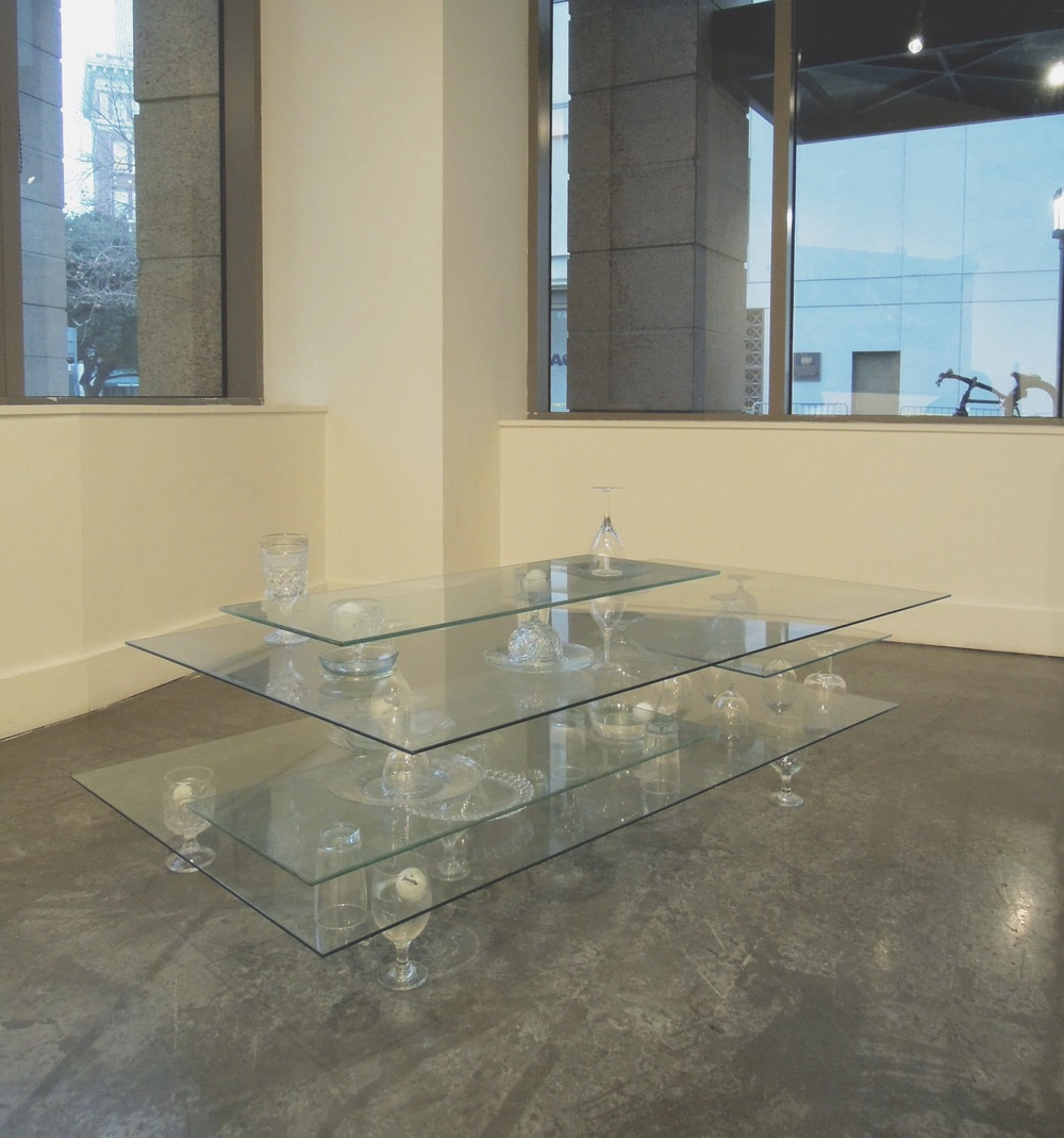 Resignation of the Spirit , 2014, Sheet glass, found glassware, ping pong balls, and water, 24 x 30 x 48 inches