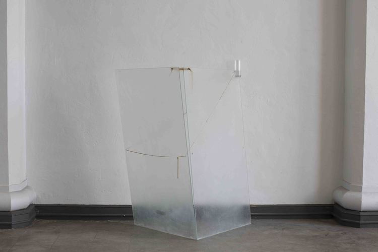 Shelter for Heavy Rains , 2016, Sheet glass, found necklaces, human hair, water glass, and water, 48 x 36 x 30 inches