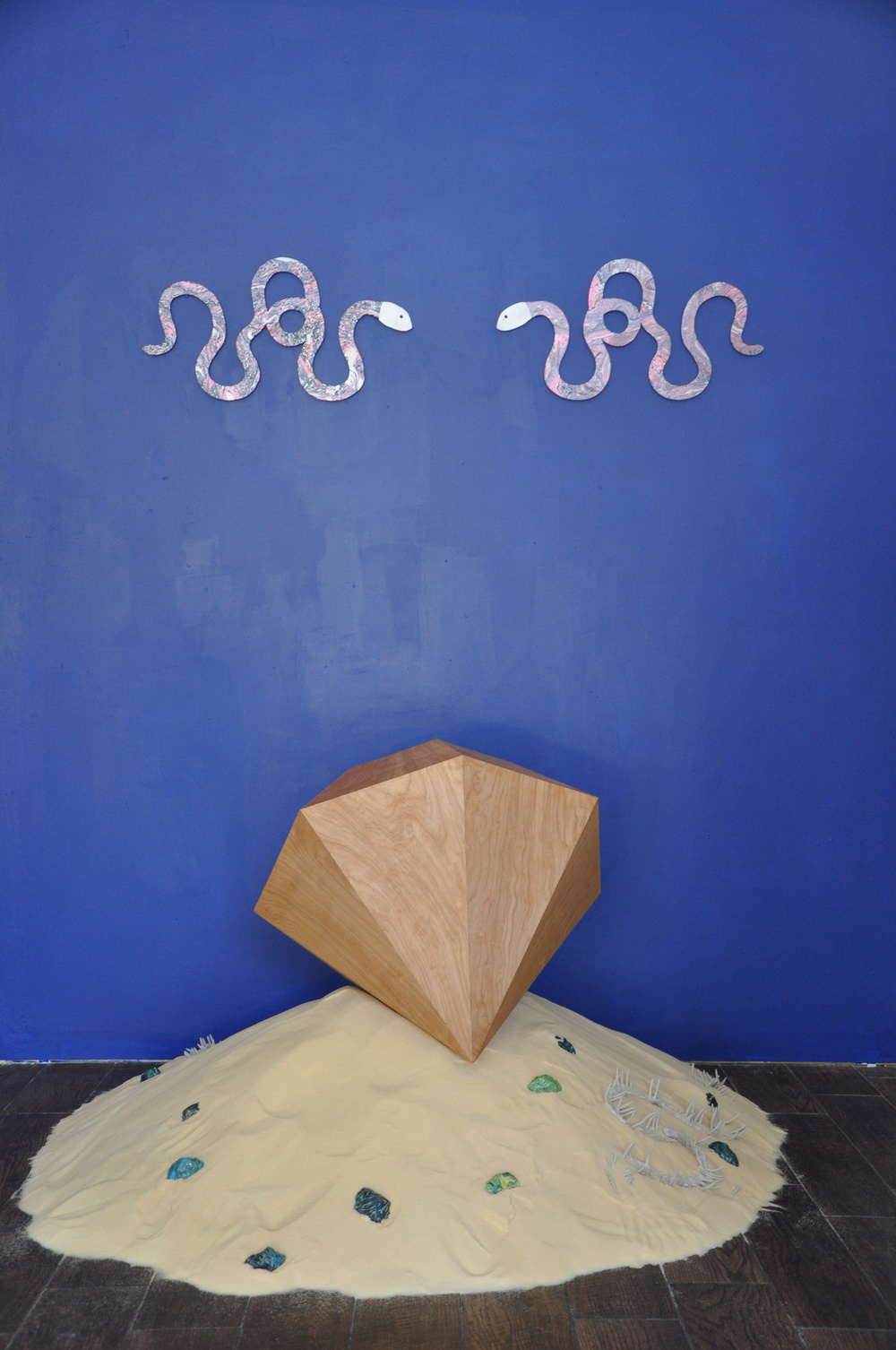 Spring Break  (exhibition view at Residence/SF, San Francisco, CA), 2015, Salt, clay, wood, and tempera, Dimensions variable