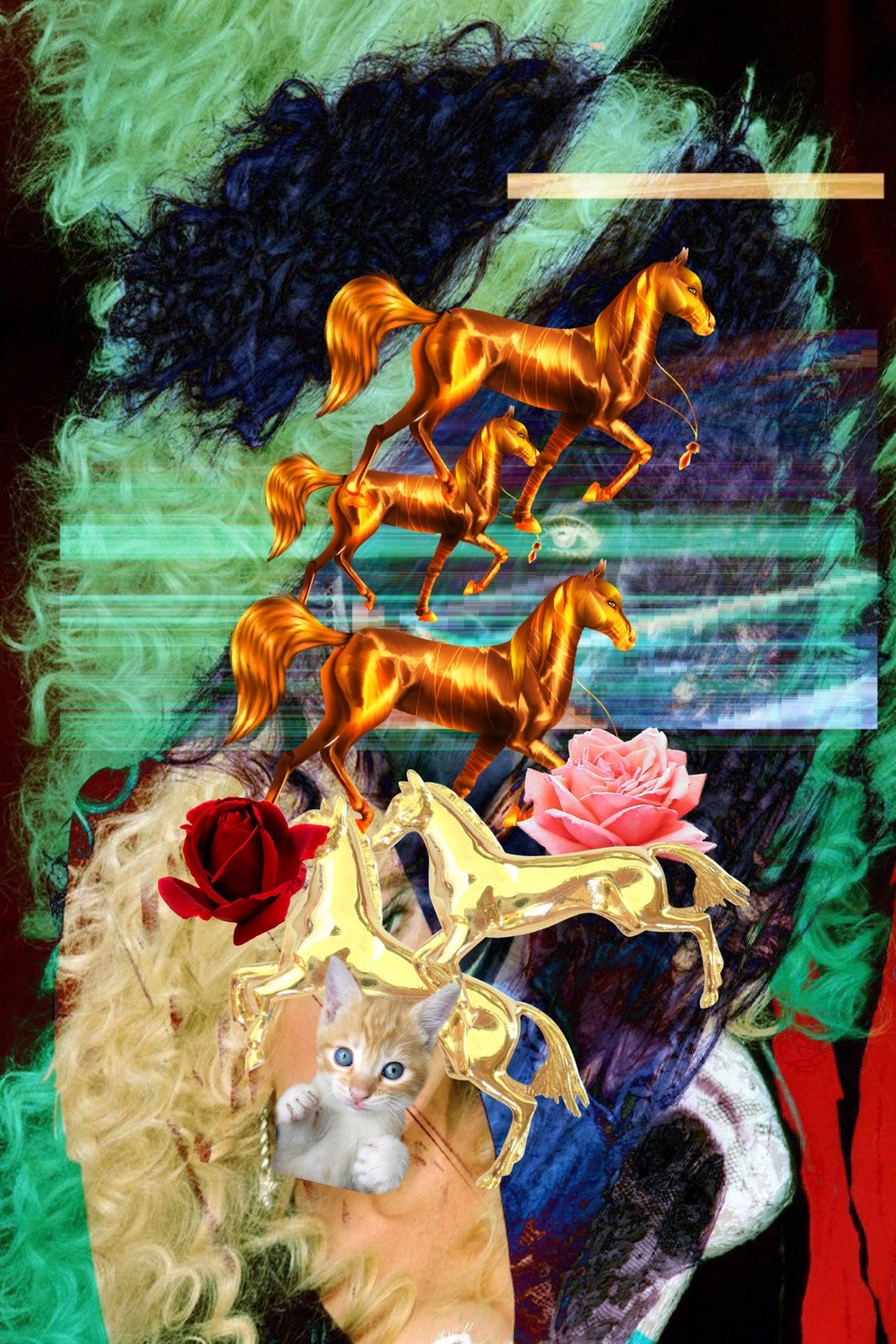 Golden Horse , 2016, Digital collage, 1440 x 2160 pixels