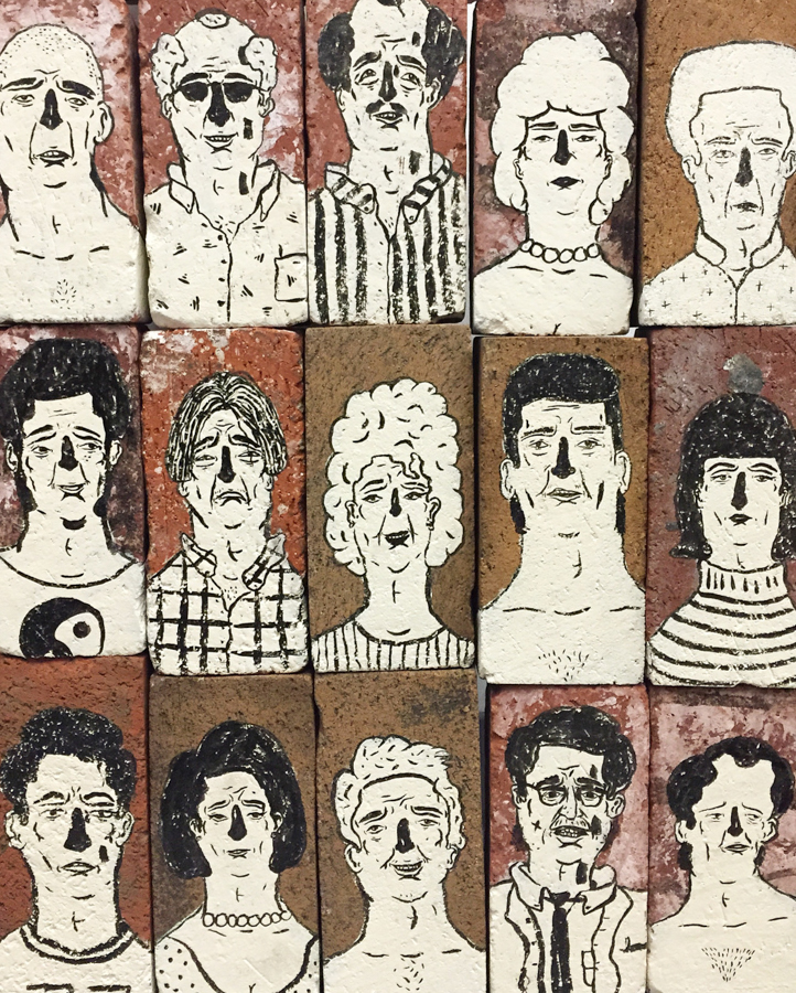 Brick Portraits , 2016, Acrylic and glaze on found bricks, 9 x 4.3 x 3 inches,
