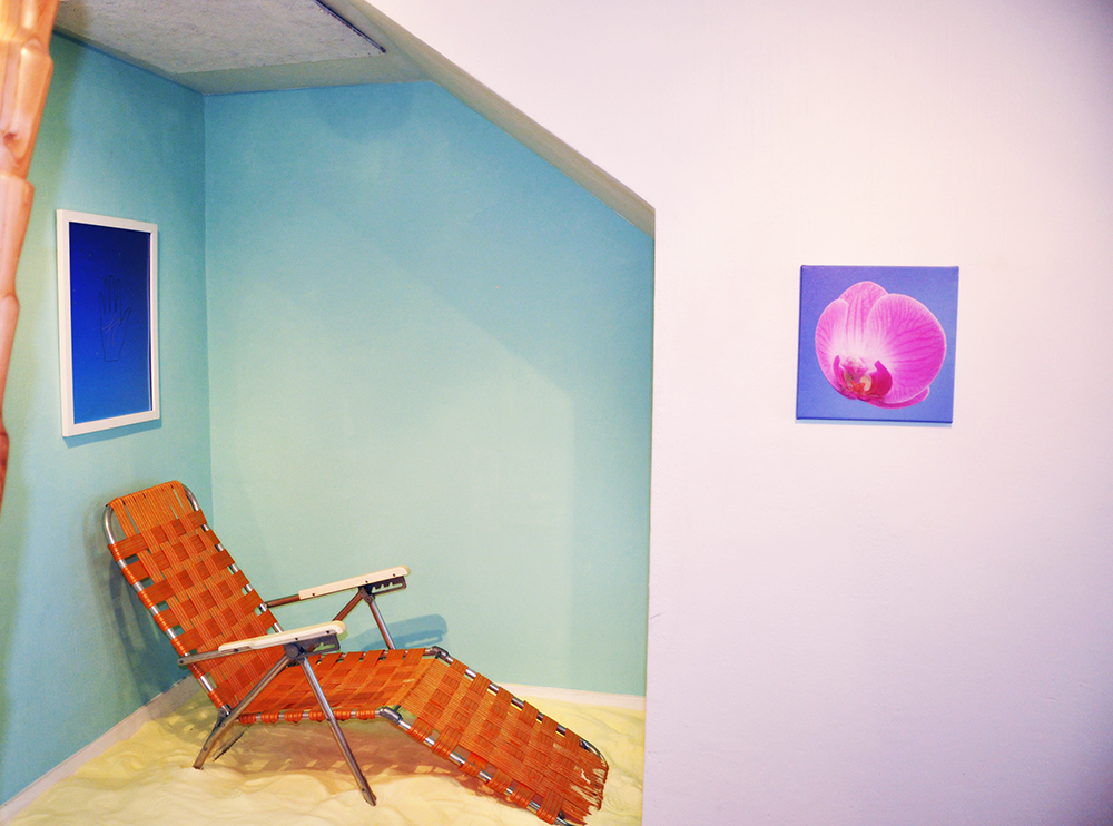 Pretty Boy  (exhibition view at Comment…, San Francisco, CA), 2015, Video, salt, and lawn chair, Dimensions variable