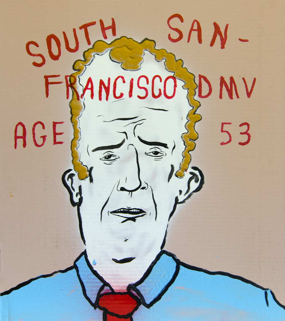South San Francisco DMV age 53 , 2016, Acrylic and spray paint on cardboard, 27 x 24 inches