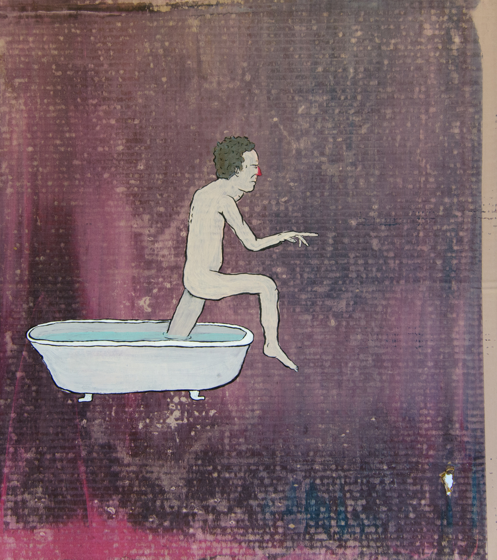 Untitled (bathtub) , 2016, Acrylic and spray paint on cardboard, 27 x 24 inches