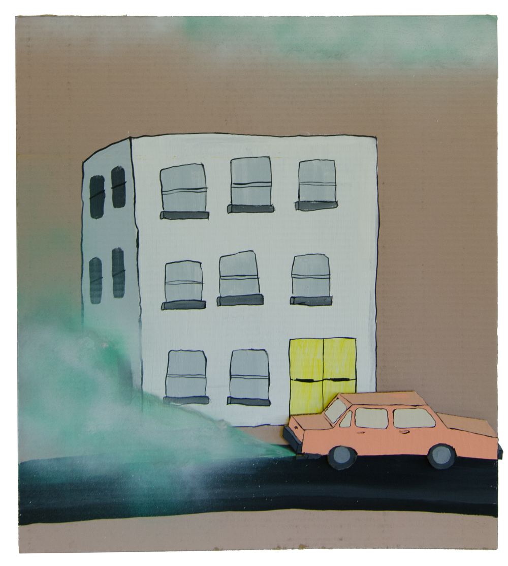 Car and smog , 2016, Acrylic and spray paint on cardboard, 27 x 24 inches
