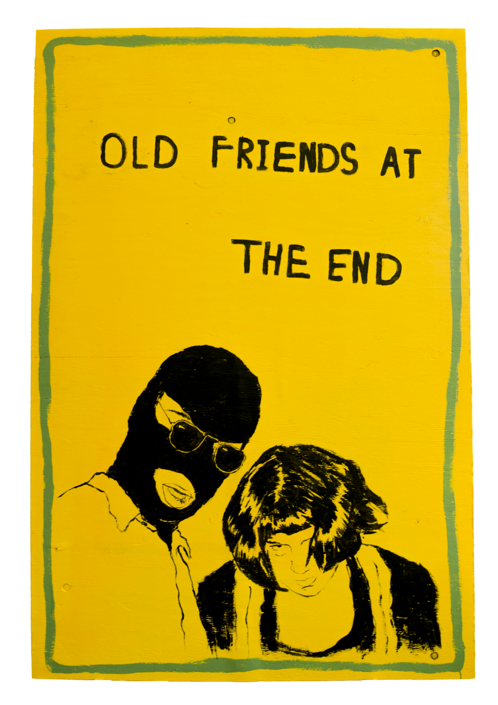 OLD FRIENDS AT THE END , 2016, House paint on wood, 48 x 38.25 x 0.5 inches