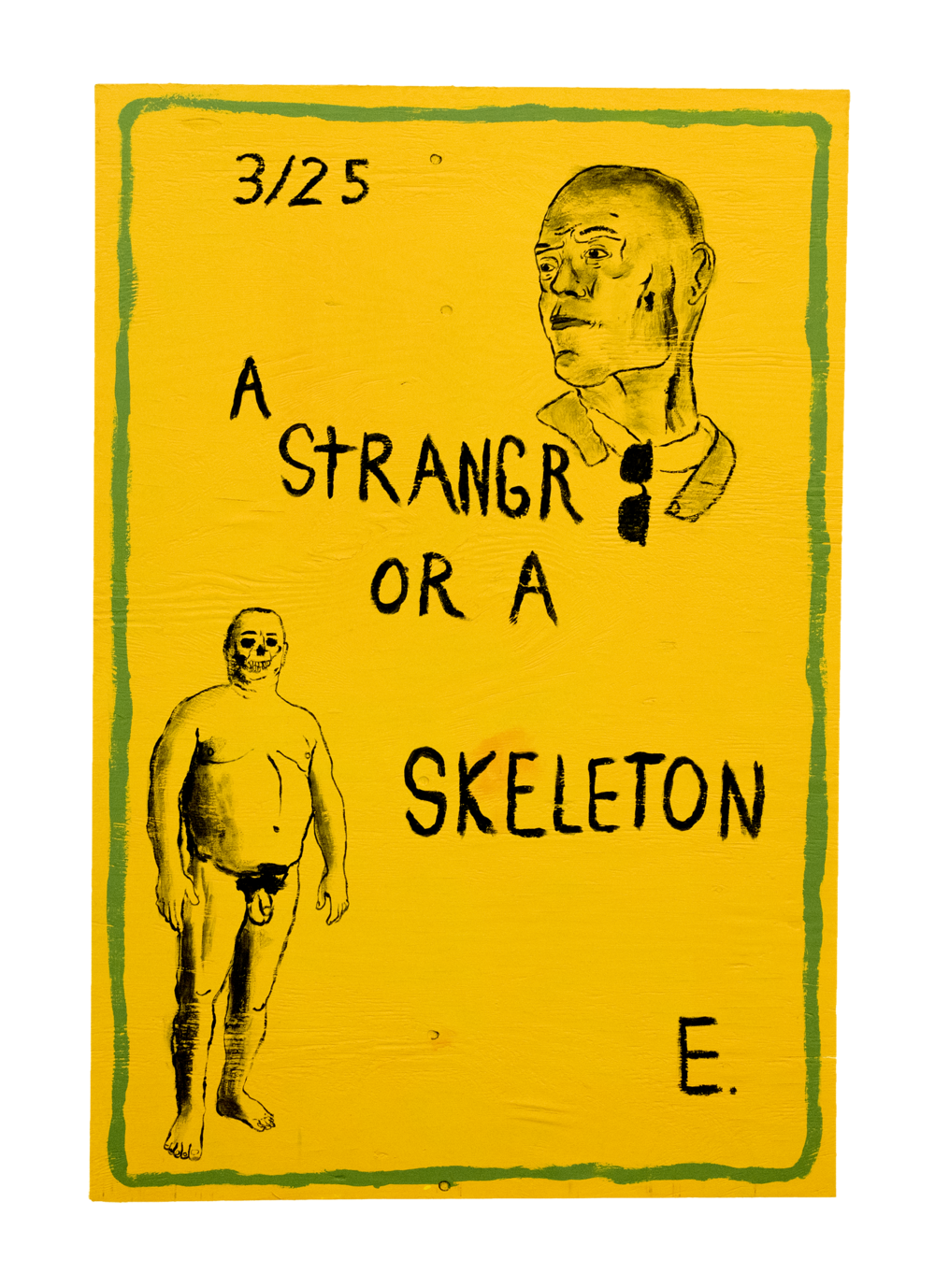 A StRANGR OR A SKELETON E., 2016,   House paint on wood, 48 x 38.25 x 0.5 inches