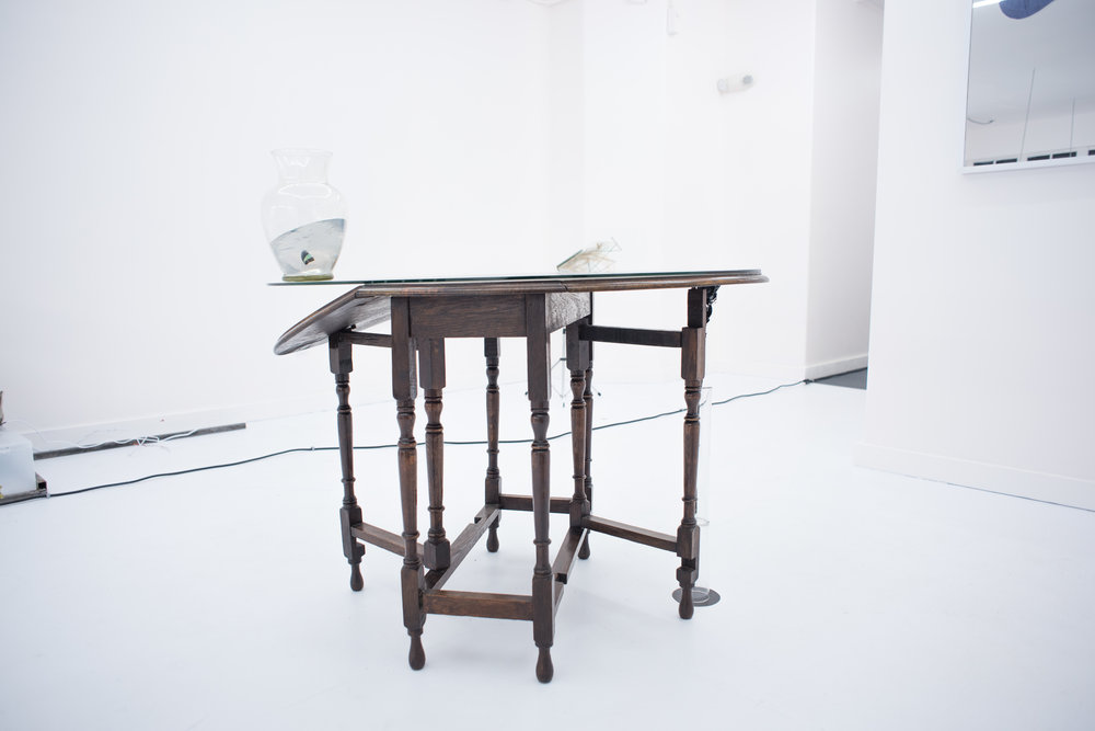 Approaching Apogee , 2016, antique oak drop-leaf table, cut glass top, clear resin, dried rose, glass tube, nails, acrylic paint, and epoxy, 40.5 x 39 x 29.5 inches