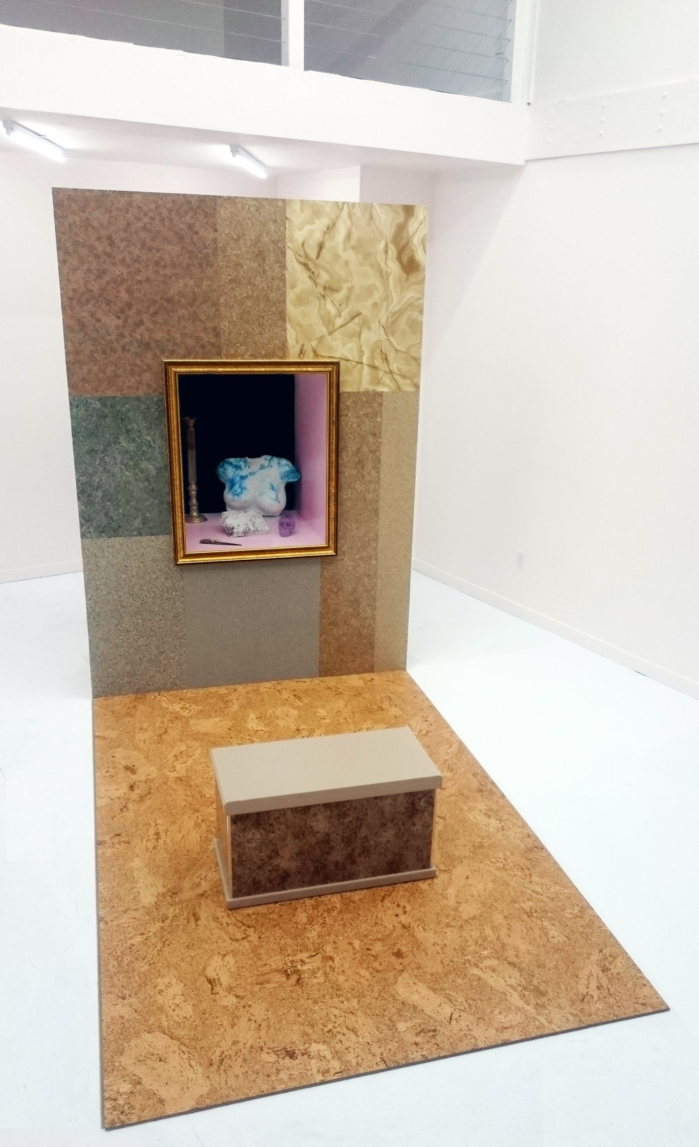 Mall Wall , 2016, lumber, plastic laminate, house paint, plaster, hydrocal, ink, found objects, borax, marble, tempered glass, metal trim, spotlight, marble, velvet, and Corkcomfort floating floor, 99 x 72 x 108 inches