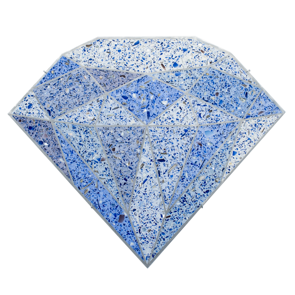 Terrazzo Diamond  (Blue), 2016, tinted terrazzo epoxy with seashells, recycled glass, and mirror aggregate, sealant, and water jet cut aluminum framing, 23 x 27 x 0.75 inches