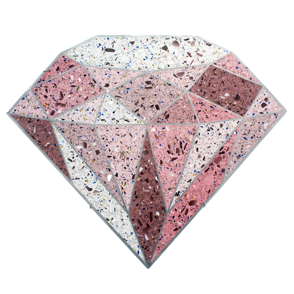 Terrazzo Diamond  (Pink), 2016, tinted terrazzo epoxy with seashells, recycled glass, and mirror aggregate, sealant, and water jet cut aluminum framing, 23 x 27 x 0.75 inches