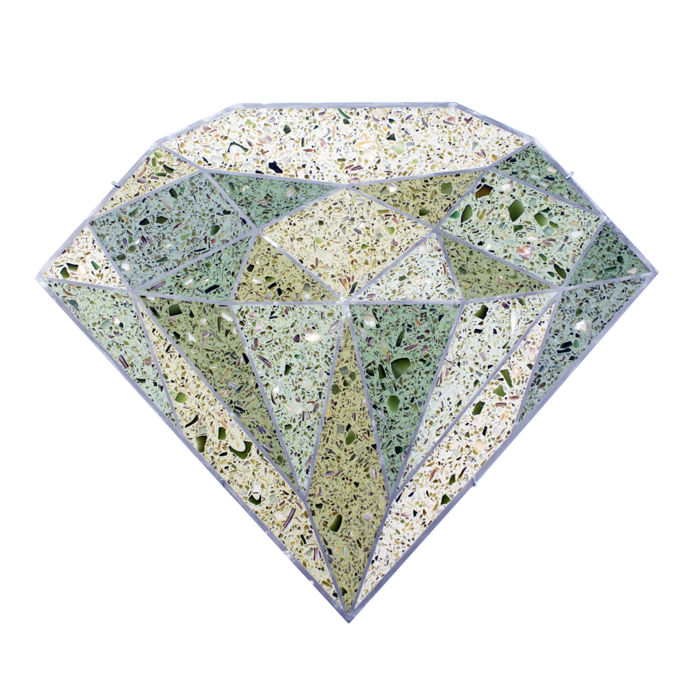 Terrazzo Diamond  (Green), 2016, tinted terrazzo epoxy with seashells, recycled glass, and mirror aggregate, sealant, and water jet cut aluminum framing, 23 x 27 x 0.75 inches