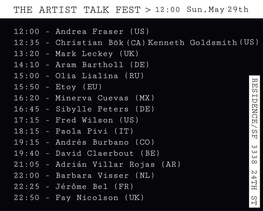 THE ARTIST TALK FEST   Ana Maria Montenegro Jaramillo & Enar de Dios Rodriguez 29 May